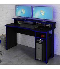 mesa gamer ideal para 2 monitores preto/azul me4153 - tecno mobili
