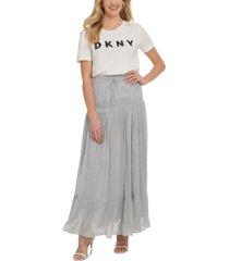 dkny metallic silver drawstring maxi skirt