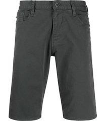 emporio armani denim straight fit shorts - grey