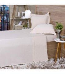 jogo de cama 300 fios casal cetim 100% algodão bege - tessi