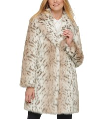 karl lagerfeld paris leopard-print faux-fur coat