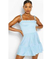 geplooide strand jurk met bandjes, blauw