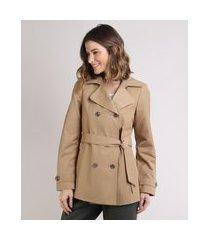 casaco trench coat feminino transpassado com faixa para amarrar kaki