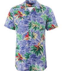 tommy hilfiger hawaiian print open collar shirt - blue mw0mw10930