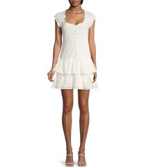 betsey johnson women's eyelet tiered dress - optic white - size xl