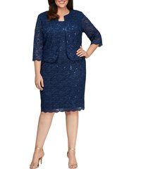 plus size women's alex evenings sequin lace shift dress with jacket