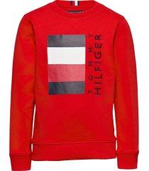 global stripe cn sweat-shirt trui rood tommy hilfiger