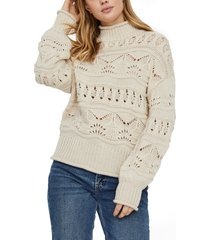 women's vero moda pointelle pullover sweater, size x-small - ivory