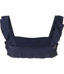 eberjey ruffle-trim bikini top - blue