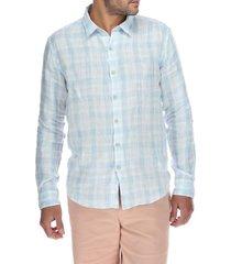 camisa lino hombre linenbicolo celeste rockford