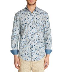 tallia men's slim fit stretch paisley print long sleeve shirt