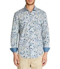 tallia men's slim fit stretch paisley print long sleeve shirt