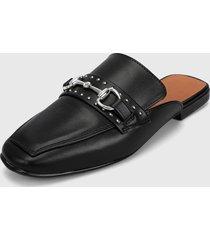 slipper negro-plateado zatz