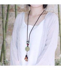 perle di ceramica vintage nappe fiore pendente corda lunga collana per le donne regalo per lei
