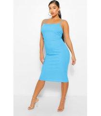 plus long line midi jurk met vierkante hals, azuurblauwe