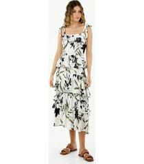 vestido midi de mujer con tiras graduables y boleros en falda
