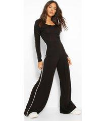 long sleeve side stripe wide leg jumpsuit, black