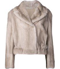 mink cropped coat
