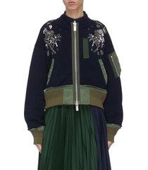 spangle embellished colourblock patchwork bomber jacket
