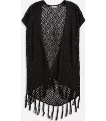 maurices womens open stitch fringe trim cardigan