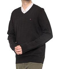 suéter tommy hilfiger tricot liso preto - kanui