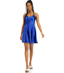 city studios juniors' pleated surplice satin dress, created for macy's