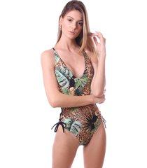maiã´ simony lingerie com ilhos trilobal beach estampado preto - preto - feminino - dafiti