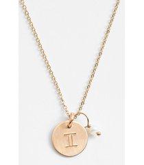 women's nashelle 14k-gold fill & semiprecious birthstone zodiac mini disc necklace