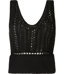 3.1 phillip lim hand crochet tank top - black