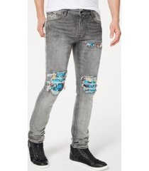 guess men's skinny-fit stretch pintucked destroyed jeans