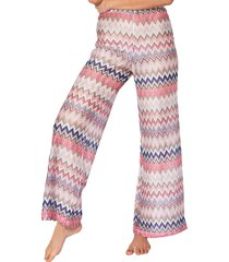 multicolor pink knitted palazzo pants