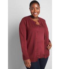lane bryant women's button-front cardigan 22/24 zinfandel