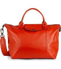 longchamp women's le pliage leather satchel - orange