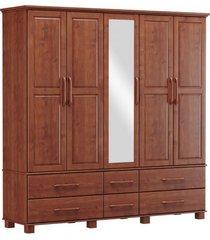 roupeiro bipartido 5 portas 6 gavetas e 1 espelho finestra linha ouro cor imbuia