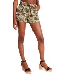 madden girl juniors' camo-print belted shorts