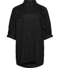 tunic puff sleeves plus butt d up 3/4 length sleeves kortärmad skjorta svart zizzi