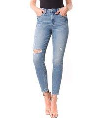 women's blanknyc the bond ripped skinny jeans, size 27 - blue