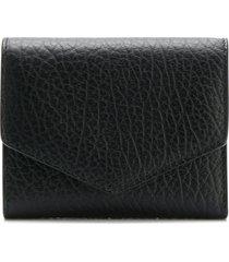 maison margiela textured leather wallet - black