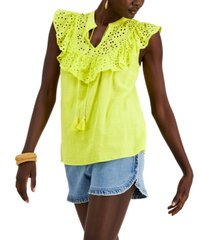 inc cotton ruffle-trim top, created for macy's