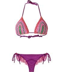 amir slama triangle bikini set - pink
