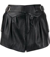 saint laurent buckle-detail high-waist shorts - black