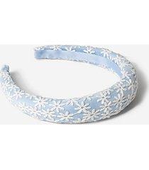 *flower padded headband - blue