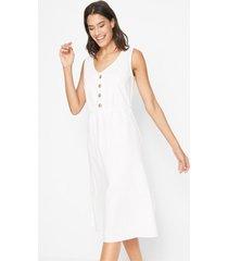 linnen midi jurk met knoopsluiting