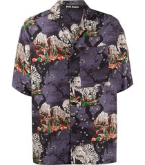 multicolored skull bones print bowling shirt