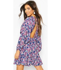 floral batwing open back skater dress, blue