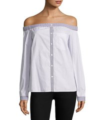 shibui striped off-the-shoulder shirt