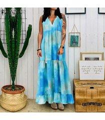 zanzea de las mujeres sin mangas del hombro larga camisa de vestir de verano del vestido del tanque del tamaño extra grande -azul