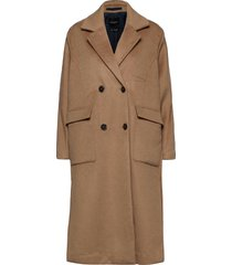 slfelement wool coat b wollen jas lange jas bruin selected femme