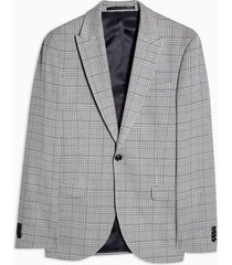 mens grey gray check single breasted skinny fit suit blazer with peak lapels