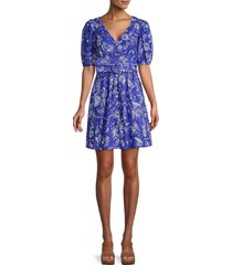 french connection women's besima tropical-print button flare dress - clement blue - size 2